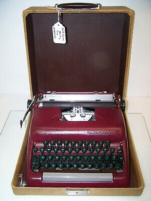 Antique 1955 Red Wine Smith Corona Sterling Fastback Typewriter #5A583424