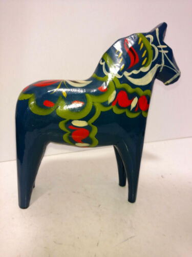 Vintage Akta Dala Hemslojd Painted Swedish Dala Horse Folk Art Figure Blue