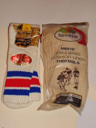 VINTAGE 1960s FRUIT OF THE LOOM THERMAL SOCKS! NOS! 11-11.5! 2 PAIR! & BONUS PR