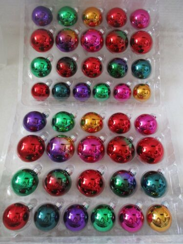 CELEBRATE IT 42 PIECES MULTI-COLOR ASSORTED GLASS ORNAMENTS - NEW WITH BOX