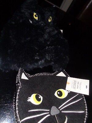 Pottery Barn Kids Halloween Black cat fur Kitty 12 24 mo treat bag costume baby