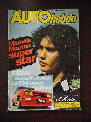 Auto Hebdo n° 288 Peugeot 104 Arvor - Michèle Mouton San Remo  - Alan Jones