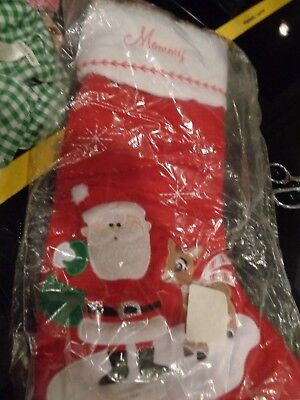 Pottery Barn Kids Christmas quilted stocking Rudolph Santa mono Mommy  New - Rudolph Stocking