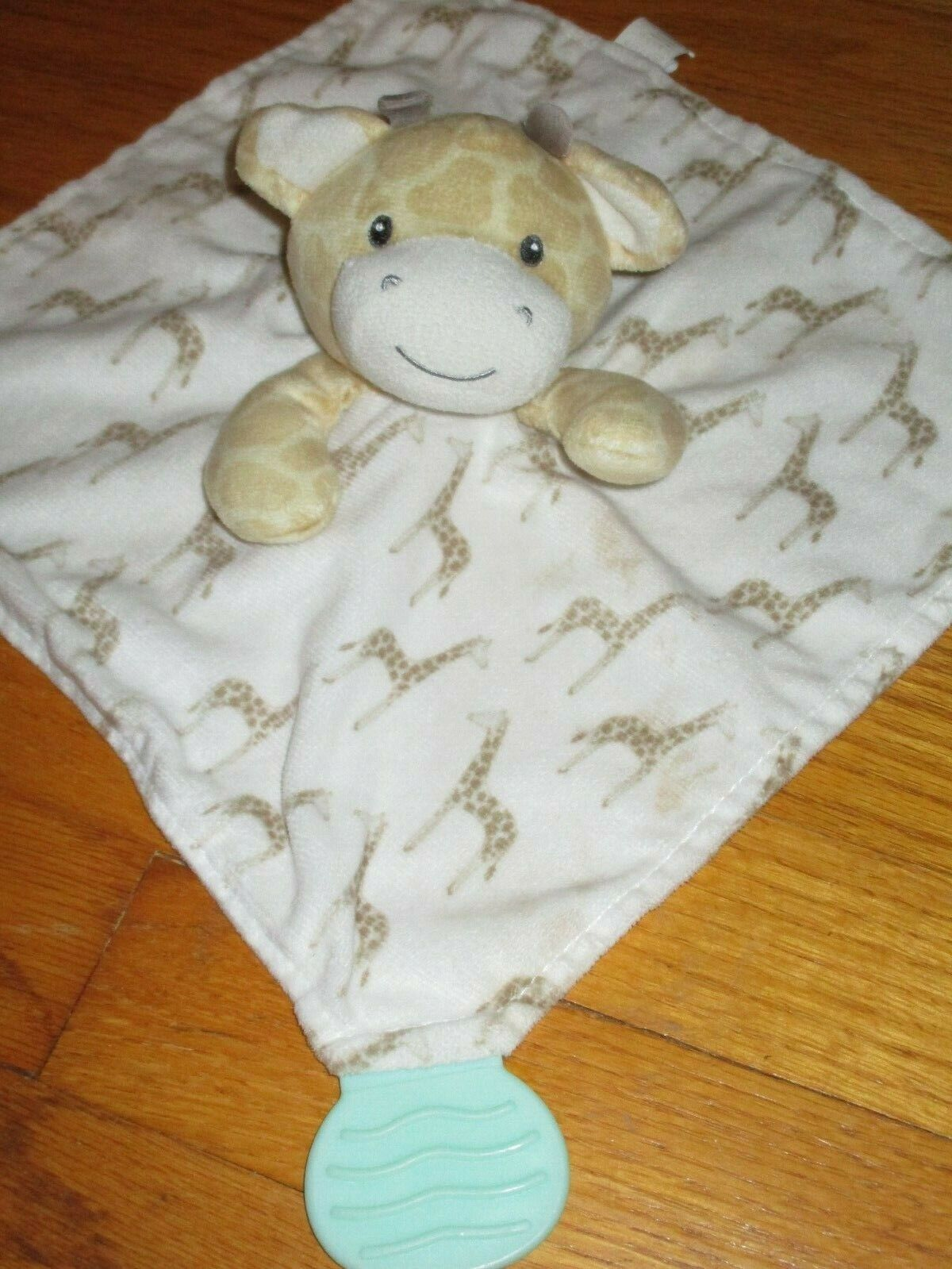 HTF Modern Baby Giraffe Rattle Teether Toy Security Blanket/Lovey - $23.99