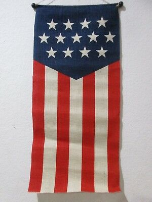 Patriotic 4th of July Americana Burlap Flag Star Stripes Wall Banner Decor NEW