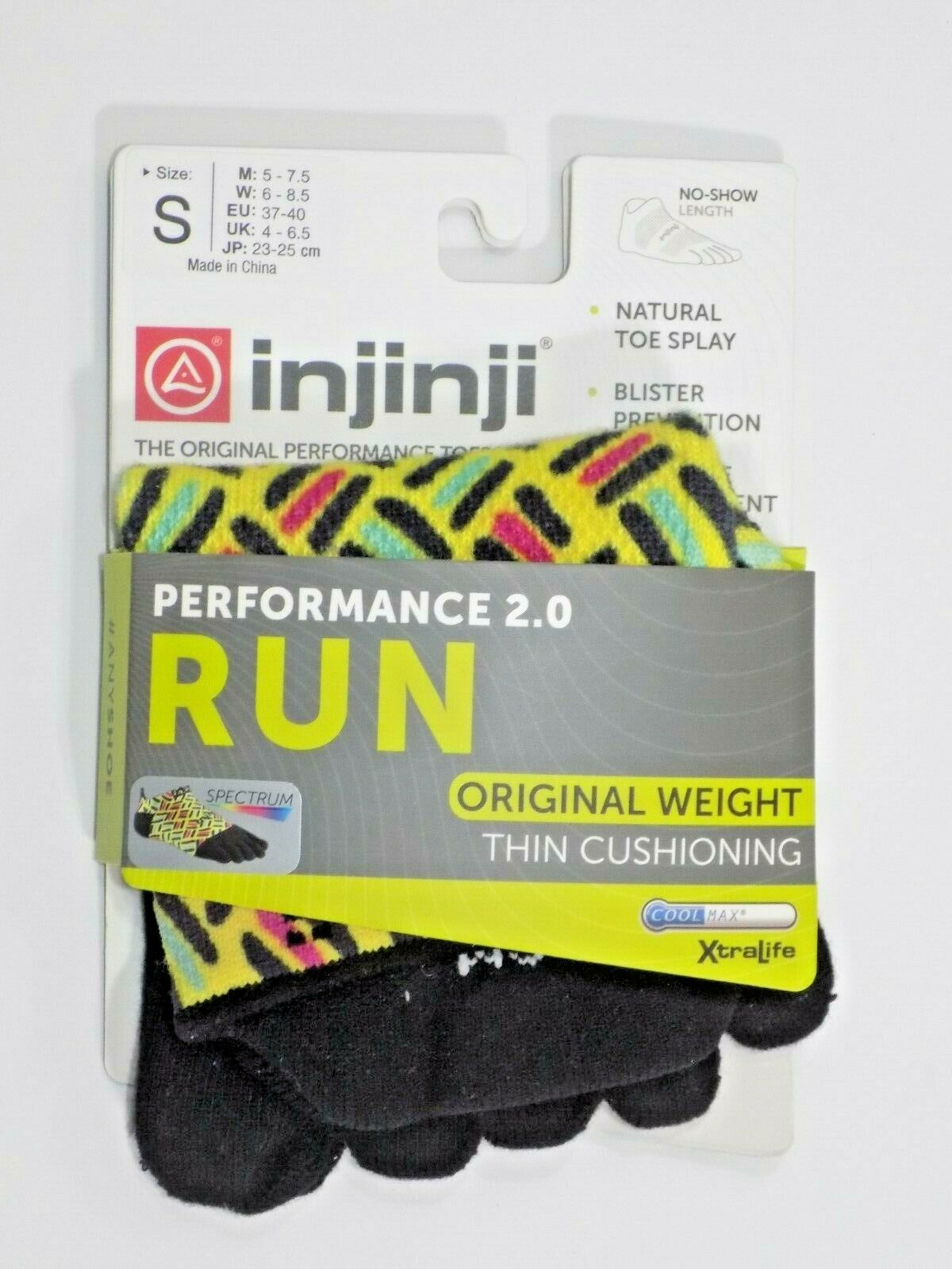 Injinji Run Original Weight No-Show COOLMAX® Technology - S