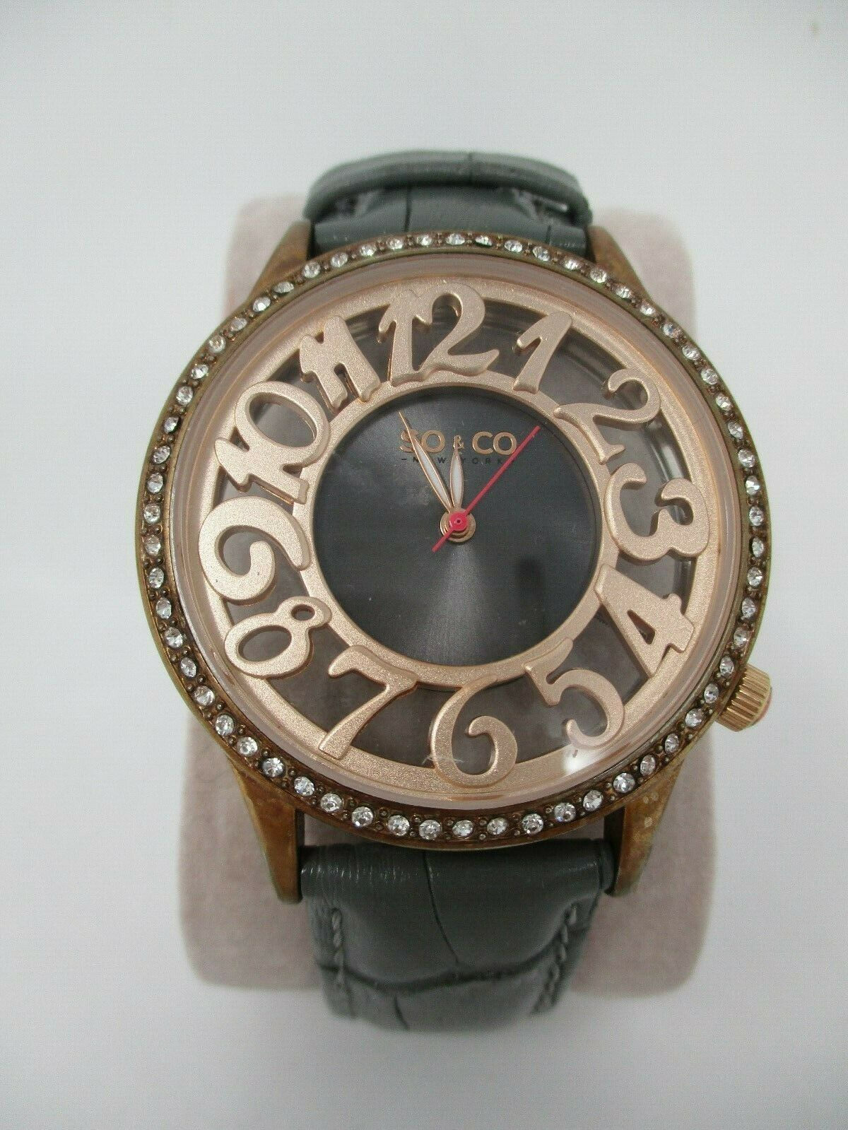 So & Co Womens Watch Copper Crystal Accent With Grey Leather Band