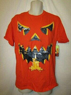 mens scary jack-o-lantern halloween t-shirt 2XL nwot orange