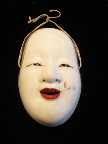 EARLY Antique / Vintage KO-OMOTE Noh MASK - Japanese CERAMIC Pottery HANDMADE