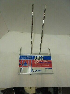 pegboard mount store display ames tools metal sign shovel rake hoe Ames Metal Rake