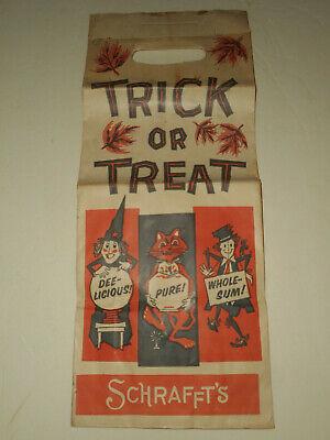 "Vintage SCHRAFFT'S Trick or Treat Halloween Candy Paper Bag 17"" x 7"" 1950-1960's"