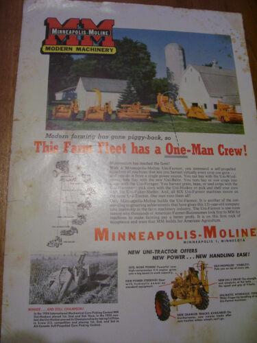 VINTAGE  MINNEAPOLIS MOLINE ADVERTISING -UNI - TRACTOR & IMPLEMENTS - 1956