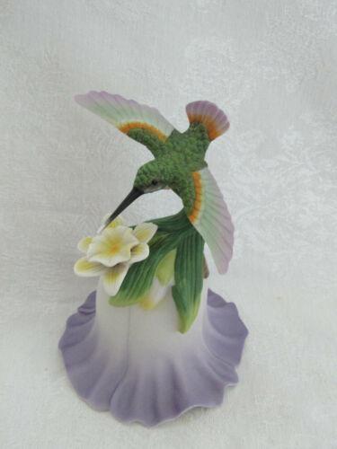 Vintage Bisque Porcelain Hummingbird on Flower Bell 2000 Avon Collectible