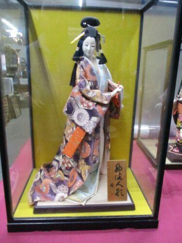"Vintage Japanese Geisha Doll In 25"" Glass Case"