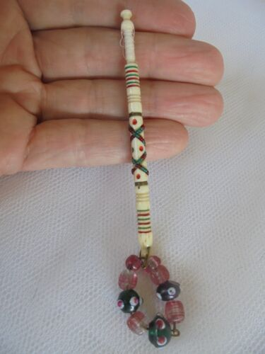 """ANTIQUE LACE BOBBIN ~ HIGHLY DECORATED - """" KITTY FISHER EYES """" DOMINO RED-GREEN"""