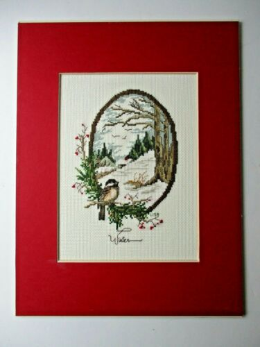 Finished Completed Cross Stitch Bird changing seasons Winter Scene Carol Emmer
