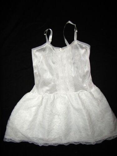 Queensbury Vintage Full Slip Nylon white Dress Ruffles Pageant Party Girls Sz 8