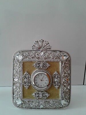 OLIVIA RIEGEL Crystal & Enamel Deco Desk Clock
