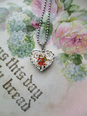 Vintage Recycled Broken China~Sweet Pansy Faces~Charm~Heart~Necklace