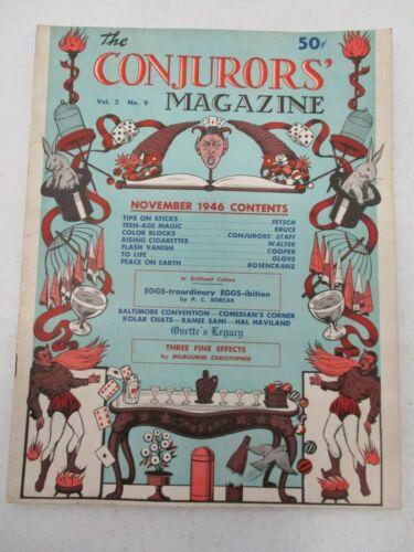 THE CONJURORS MAGIC MAGAZINE VOL 2 NO 9 NOVEMBER 1946 FETSCH TIPS ON STICKS
