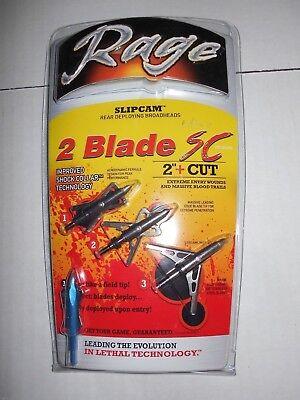 "@NEW@ 3pk. RAGE SC 2 BLADE! Slipcam Expandable Broadheads! 100 grain 2.0"" two"