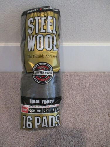 Steel Wool Pads Super Fine Grade #0000 Rhodes American Final Finish 16 count Pkg