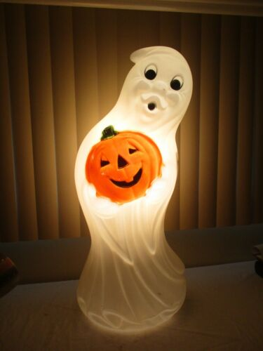 "Vintage Ghost & Pumpkin Lighted Halloween Blow Mold Decor General Foam 34"" (b)"