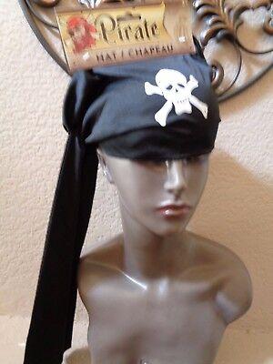 Halloween Black Unisex Pirate Skull Scarf Do Rag Hat Bandana Accessory. (Pirate Scarf)