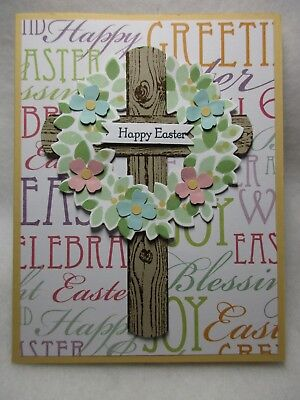 - Stampin' Up! HAPPY EASTER Large Wood Cross Flower Wreath Card Kit - 2 Cards