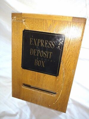 1950's Express Banking Deposit Box Wood With Plaque