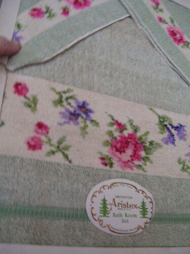 Vintage 3 pc. Green w/ Flowers Bath Towel Set Terry Ensemble NIB
