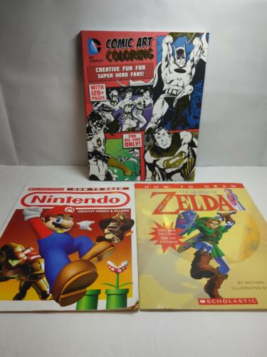Nintendo Learn How To Draw Zelda Mario Books + DC Comic Art Coloring Book Unused