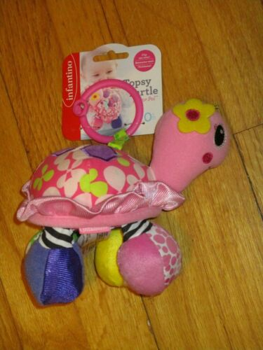 NWT infantino Turtle Rattle Mirror Crinkle Hanging Toy