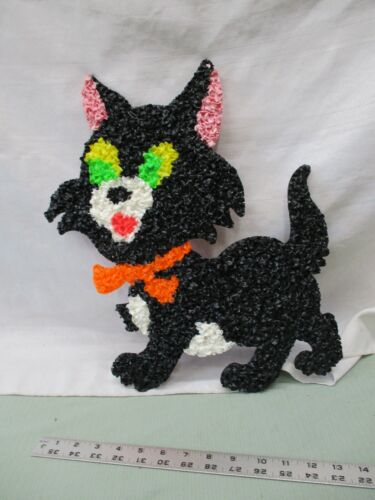 Vintage Melted Popcorn Plastic Decor Halloween Black Cat Orange Bow