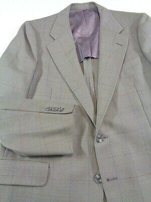 Hickey Freeman Sport Jacket Men's Size 38R Taupe Gray Windowpane vtg