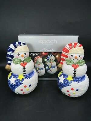"Epoch Collection by Noritake Snowman Salt & Pepper Shakers 7"" w/Box"