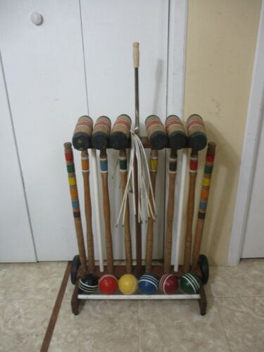Vintage 6-Player Croquet Set Rolling Wood Stand  Mallets Balls Stakes & Wickets