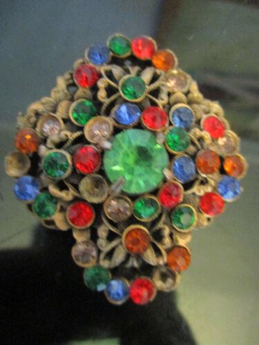 Vintage Antique Estate Art Deco Jeweled Rhinestone Fur Dress Clip Brooch Pin!