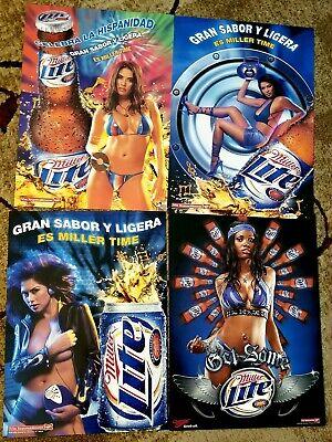4 Sexy Girl Beer Posters Hot Girls Music Radio CD player miller beer