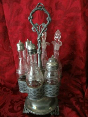 Antique castor condiment set silver plated salt pepper oil vinegar etched