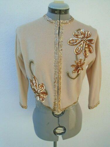 Vintage Sequin Beaded 40s 50s Hassah Lambs Wool Cardigan Size 38