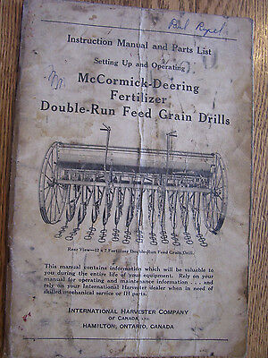 Vintage Ihc International Operators   Parts Manual   Grain Drills