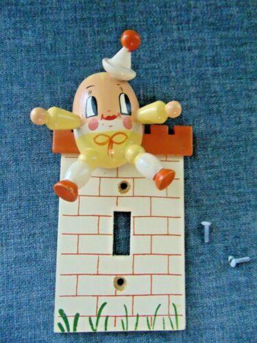 vtg Nursery rhyme Humpty Dumpty Child Baby Wood Single Light Switch plate egg 3D