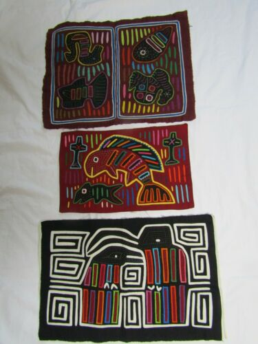 Lot of 3 MOLA Kuna Textile Handmade Folk Art