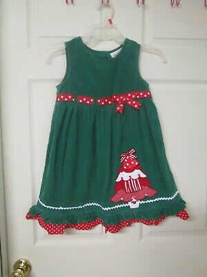 Girl's Rare Editions Green Christmas Themed Jumper. Size 6. Christmas Tree Fron