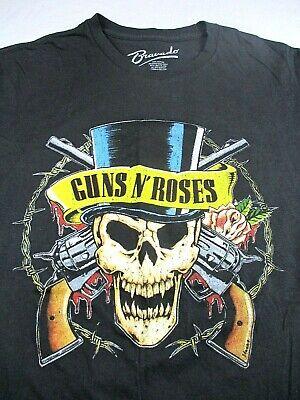 Bravado Guns N' Roses Men's Graphic Black T-Shirt Top Hat Skull Rock Large