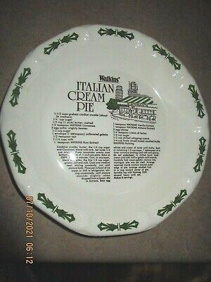 "VINTAGE  1983 Watkins 11"" pie plate w/ recipe  Italian Cream  Pie"