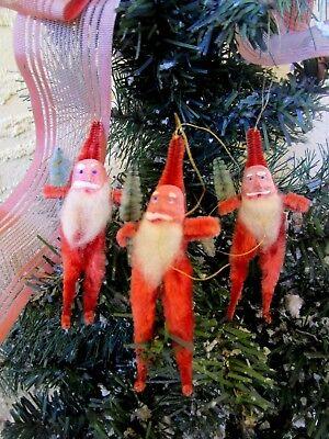 VINTAGE 3 SANTA CLAUS COMPO FACE COTTON BEARD & RED CHENILLE BODY&TREE ORNAMENTS
