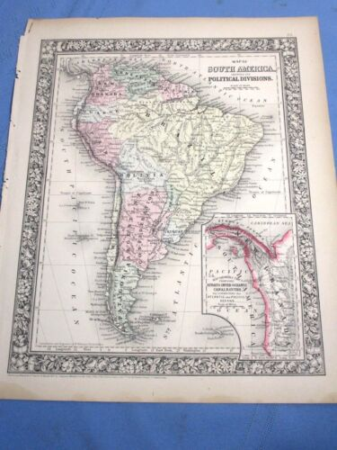1865 Colored Map - SOUTH AMERICA showing it