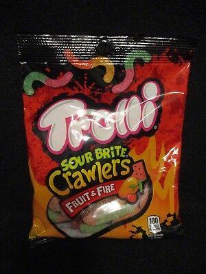 BRAND NEW!- TROLLI  Sour Brite Crawlers FRUIT & FIRE Gummi Candy Worms- 4 oz Bag - Gummy Worm Brands